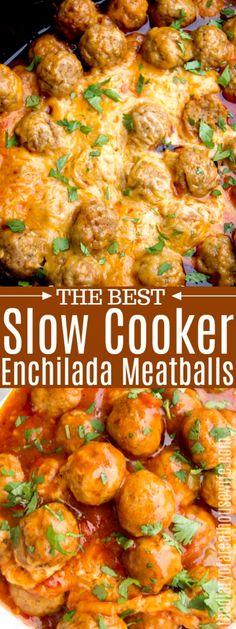 Low Fat Recipes Slow Cooker Enchilada Meatballs – Slow Cooker – Ideas of Slow Cooker Enchiladas Guatemaltecas, Slow Cooker Enchiladas, Skinny Enchiladas, Mexican Food Recipes, Beef Recipes, Cooking Recipes, Slow Cooker Keto Recipes, Slow Cooker Appetizers, Mexican Food Appetizers