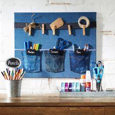 DIY Denim Pocket Wall Organizer