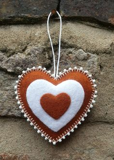 Gingerbread beaded heart ornament