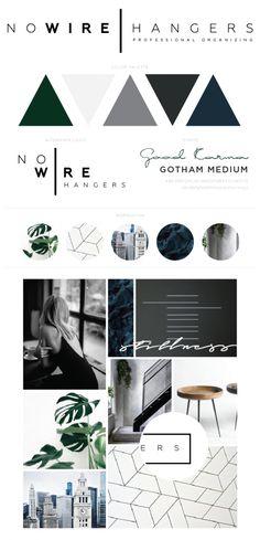 Minimal branding, minimal brand board, geometric branding, modern branding, cool colors, organization branding, Custom Website & Branding Spotlight: No Wire Hangers