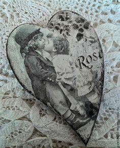 """Купить Сердечко """" Влюбленные"""" - чёрно-белый, подарок, подарок на день валентина"""