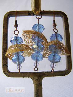 Sea Mermaids jewelry set of pendant & earrings made of natural golden silk and transparent water blue crystals by Svetlana Kostova, Bulgaria