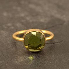 Peridot Ring - Cushion Cut Ring - Vermeil Gold Ring - Bezel Ring - August Birthstone Ring