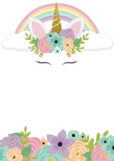 Unicorn Crafts, Unicorn Art, Rainbow Unicorn, Unicorn Themed Birthday, Unicorn Birthday Invitations, Unicornios Wallpaper, Unicorn Pictures, Cute Wallpapers, Machine Embroidery Designs