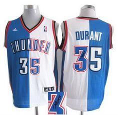 Oklahoma City 35# Thunder Kevin Durant blue white Split signature jerseys 24.0$