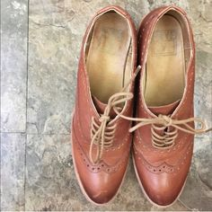 FRYE Maggie Perf Stacked Heel Wingtip -Cognac See pic 4 for details; bundle for discounts Frye Shoes