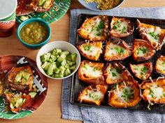 From the Food Network: Sweet Potato Skins Loading up tender sweet potato skins with mozzarella, salsa verde and avocado Food Network Uk, Food Network Recipes, Cooking Recipes, Healthy Recipes, Healthy Eats, Easy Recipes, Healthy Lunches, Vegetarian Cooking, Amazing Recipes