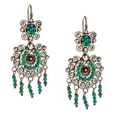 JJ Caprices - Sterling Silver Mexican Filigree Earrings with Turquoise