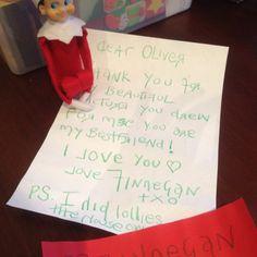 The letter to Oliver from Finnegan. Dec 2011. #elfontheshelf