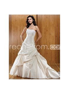 Taffeta+Strapless+Neckline+Rouched+A+line+Asymmetrical+Pick+up+Skirt+Hot+Sell+Wedding+Dress+WD-0109