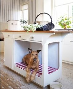 How do you keep your pet from being underfoot in the kitchen? Simple! Build pet areas into the kitchen island!
