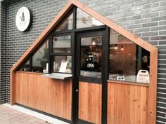 Co Trip, Coffee Stands, Cafe Design, Garage Doors, Shed, Outdoor Structures, Outdoor Decor, Restaurants, Hotels
