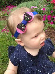Anna Felt Bow Headband, Frozen-Inspired Hair Bow Headband, Blue, Black and Pink Princess Headband, Blue Headband