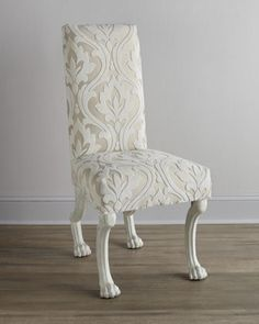 Florence de Dampierre Halimeda Chair - Horchow cut velvet white ivory off-white carved paw legs damask Decor, Horchow, Furniture Chair, Dining Furniture, Chair, Furniture, Dining Room Chairs, Cool Furniture, Cool Chairs