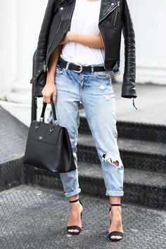 Todays Outfit – Lether Jacket And Trashed Denim