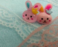 Pink Bunny with Crown Earrings, Cute Hand Crafted, US Seller