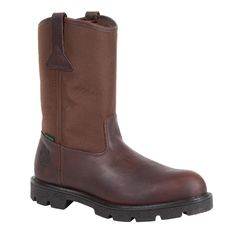 Georgia Homeland Mens Brown Leather Steel Toe W/P Welly Work Boots