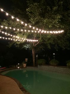 String Lights Over Pool : String lights in the backyard over the pool will help with night time ambiance. I would attach ...