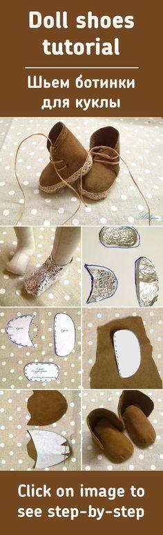 Шьем ботиночки для куклы / Doll shoes tutorial-The Russians seem to be very skilled at realistic dolls-Pamela