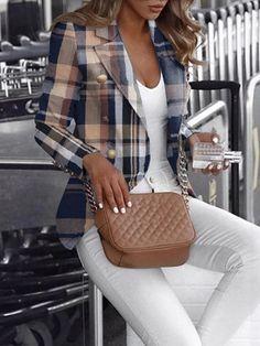 Blazer Outfits, Plaid Blazer, Blazer Fashion, Blazer Jackets For Women, Blazers For Women, Printed Blazer, Plaid Design, Pattern Fashion, Sightseeing Outfit