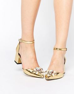 Love these metallic gold sparkle embellished granny heels.