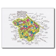 Hand-sketched map of Milton Keynes postcard