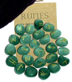 Green Aventurine #Gemstone #Runes - Gemstone of Luck, Creation, and Insight. Our Green Aventurine Gemstone Runes are beautifully carved 25 piece sets with engraved lettering and hand painted in gold