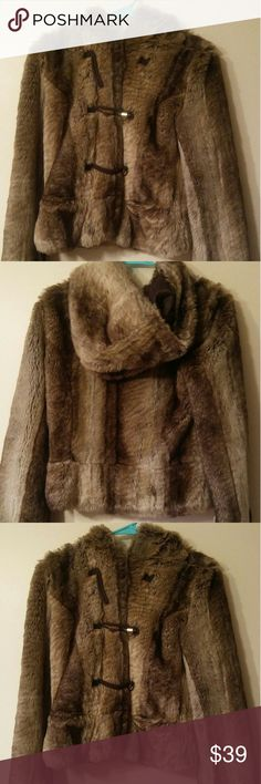 Juicy Couture born in the glamorous USA jacket Juicy Couture born in the glamorous USA fur jacket  Great condition  One button missing like the picture shown  Made in China  Size S Juicy Couture Jackets & Coats Puffers