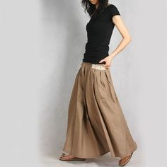 T-shirt with long skirt.