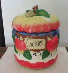 Unique Vintage Apple Cookie Jar CA 1940 Awesome | eBay