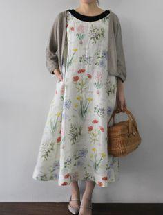 in linen ---Envelope Online Shop - Dress flower1