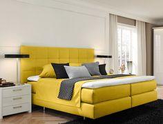 ⚘ Der Frühling ist da! Gelbes Boxspringbett im modernen Stil
