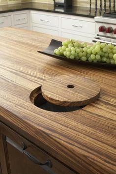 cuisine integree ronde elements en bois