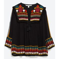 Zara Embroidered Jacket ($100) ❤ liked on Polyvore featuring outerwear, jackets, black, zara jacket, embroidered jacket, embroidery jackets, embellished jacket and lined jacket