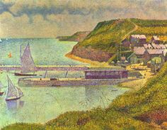 Seurat Pointillism Paintings | Seurat: Navy - Giclee Art Reproduction on Stretched Canvas