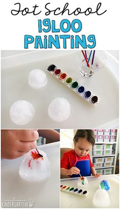 This painting igloo activity was so much fun! Perfect for tot school, preschool, or kindergarten. Winter Activities For Kids, Winter Crafts For Kids, Winter Fun, Toddler Activities, Toddler Learning, Learning Activities, Winter Preschool Activities, Toddler Art, Preschool Learning