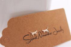 Cat Stud Earrings / Sterling Silver / by SweetNovemberJewelry