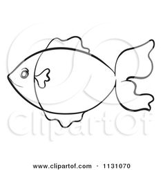 Fish Clip Art Black and White | Cartoon Of A Black And White Sketched Fish Outline 3 - Royalty Free ...