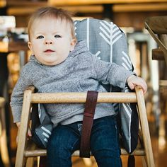 Use the IKEA inflatable cushion in restaurant highchairs so your baby won't slide out!