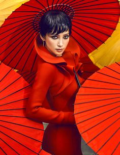 Li Bingbing by Chen Man for Vogue China October 2012 -- Red - Fashion Photography - Umbrellas Vogue China, Red Umbrella, Under My Umbrella, Man Photography, Fashion Photography, Editorial Photography, Umbrella Photography, Glamour Photography, Lifestyle Photography