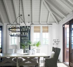 Create a chic and comfortable space by adding a fresh coat of white paint to your dining room walls. Paint the wooden ceiling beams gray to add subtle dimension to your home interior. Ceiling Paint Colors, White Paint Colors, Colored Ceiling, White Ceiling, White Walls, Coastal Color Palettes, Coastal Colors, Benjamin Moore, Most Popular Paint Colors