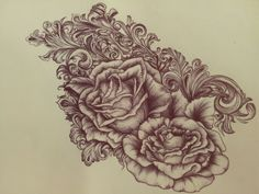 Behance :: Victorian scrollwork & roses tattoo by Eileen Wagner