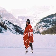 @nataliemaksym shows off her Roots skating on Lake Louise. : @someone #RootsIsCanada