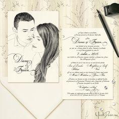 Invitații elegante și romantice cu portretul desenat al mirilor. Wedding Invitations, Romantic, Wedding Dresses, Silver, Simple Lines, Bridal Dresses, Bridal Gowns, Wedding Gowns, Money