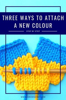 Besten stricken : Three Ways to Attach a New Colour to a Project Rib Stitch Knitting, Knitting Help, Knitting Blogs, How To Start Knitting, Sweater Knitting Patterns, Knitting For Beginners, Easy Knitting, Knitting Stitches, Knitting Designs