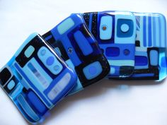 Bright Blue Fused glass coasters geometric style by sherrylee16, $56.00