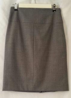 Banana Republic Gray Virgin Wool Pencil Stretch Skirt Size 6 #BananaRepublic #StraightPencil