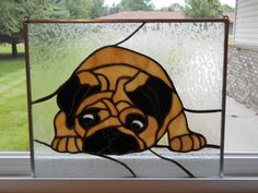 """Cutest Pug Stained Glass Panel 11 5"""" by 14"""" New Handcrafted 