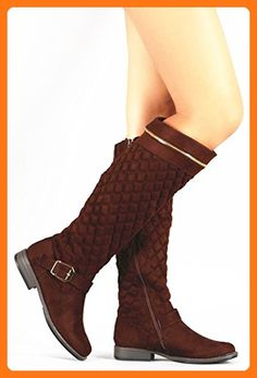 a20083d2394 Bamboo Women s Montana-62 Brown Quilted Suede Zipper Trim Riding Knee High  Boots