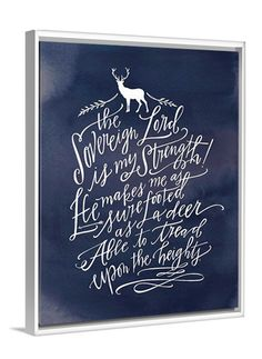 Inspirational art - The Lord is My Strength Deer Canvas by Lindsay Letters featuring Habakkuk 3:19.
